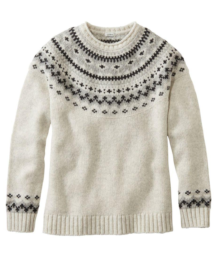 L.L.Bean Classic Ragg Wool Sweater, Fair Isle Crewneck