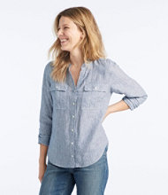 Premium Washable Linen Roll-Tab Shirt, Long-Sleeve Stripe