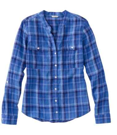 Premium Washable Linen Roll-Tab Shirt, Long-Sleeve Plaid