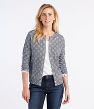 Supima-Blend Essential Cardigan, Medallion Print