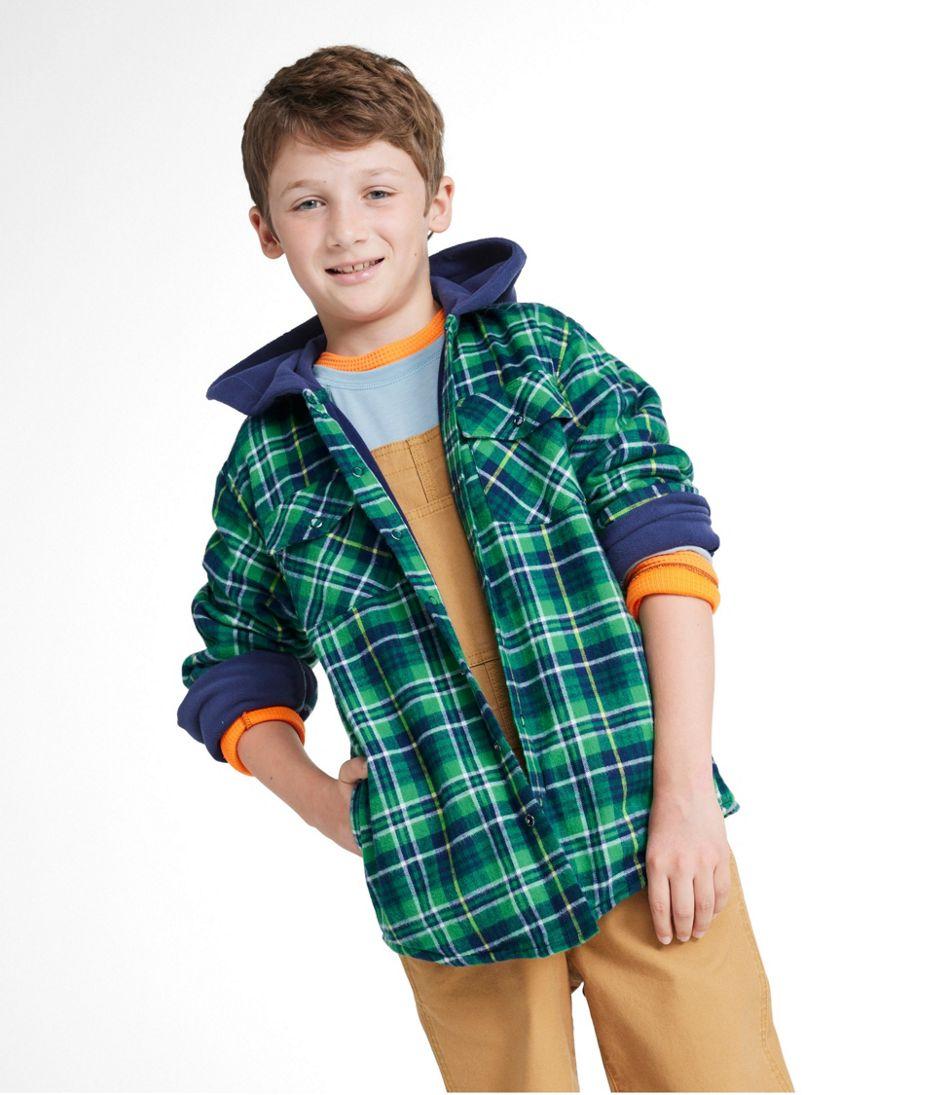 Kids' Fleece-Lined Flannel Shirt, Hooded Plaid