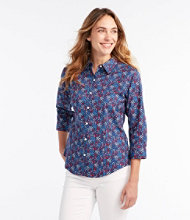 Wrinkle-Free Pinpoint Oxford Shirt, Three-Quarter-Sleeve Floral
