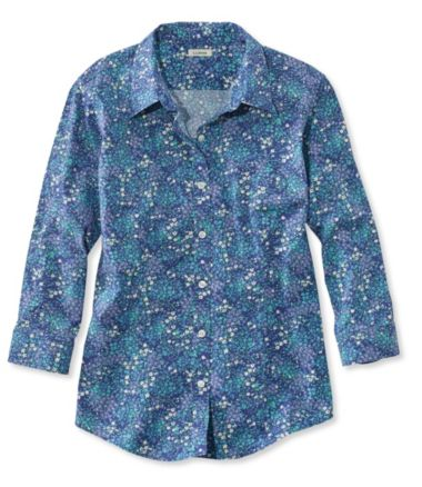 Women's Wrinkle-Free Pinpoint Oxford Shirt, Three-Quarter-Sleeve Floral