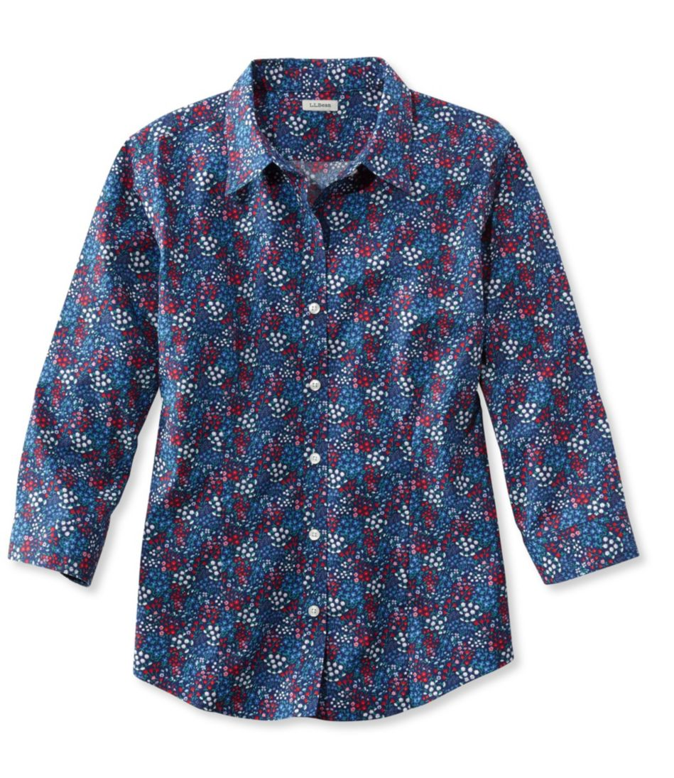 Wrinkle-Free Pinpoint Oxford Shirt, Three-Quarter Sleeve Slightly Fitted Floral