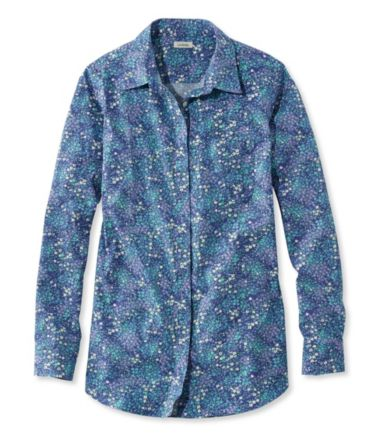 Wrinkle-Free Pinpoint Oxford Tunic, Long-Sleeve Floral
