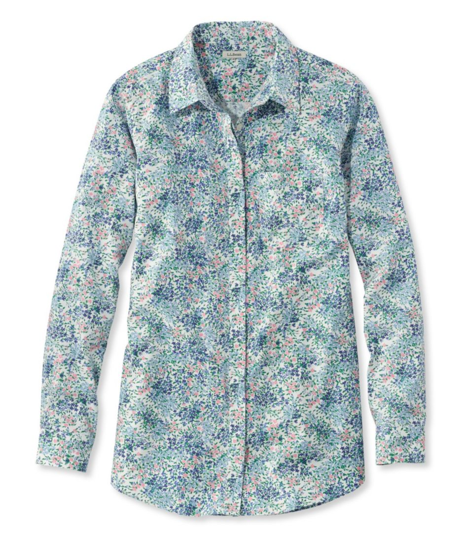 Wrinkle-Free Pinpoint Oxford Tunic, Long-Sleeve Slightly Fitted Floral