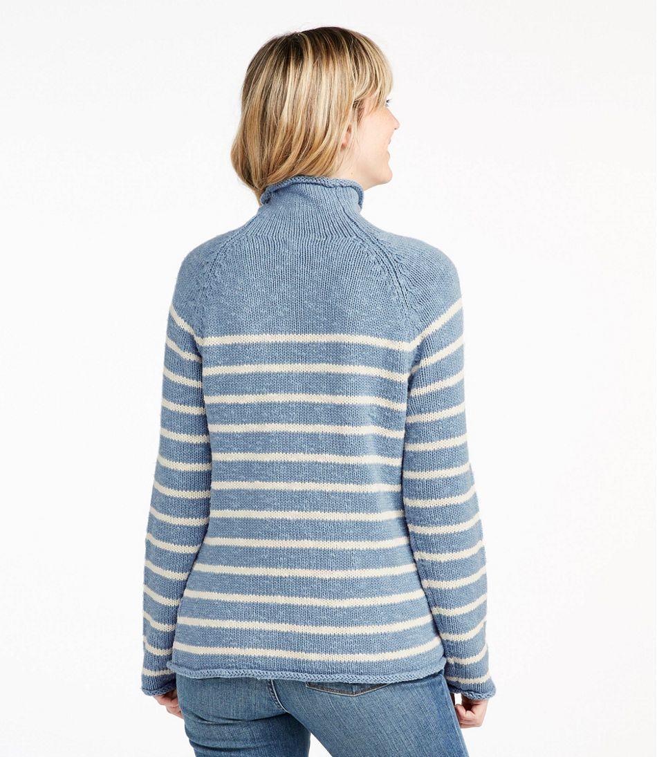 Cottage Cotton Sweater, Funnelneck Stripe
