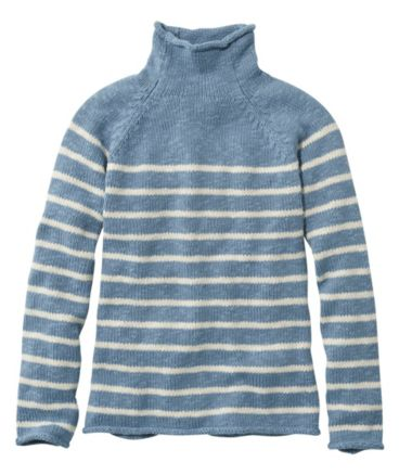 Cottage Cotton Sweater, Funnelneck Stripe