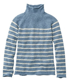 Women's Cottage Cotton Sweater, Funnelneck Stripe