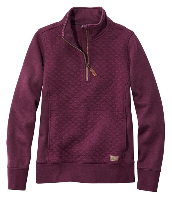Quilted Sweatshirt Quarter-Zip Pullover, Royal Plum Heather, large image number 0