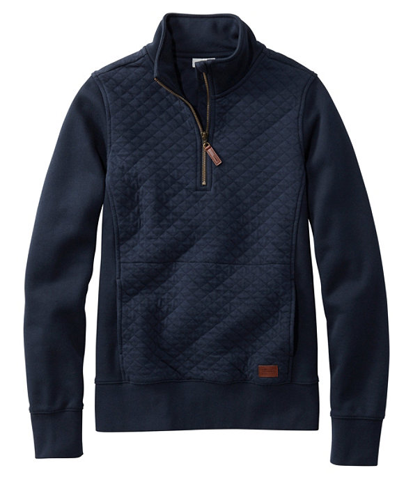 Quilted Sweatshirt Quarter-Zip Pullover, Classic Navy, large image number 0