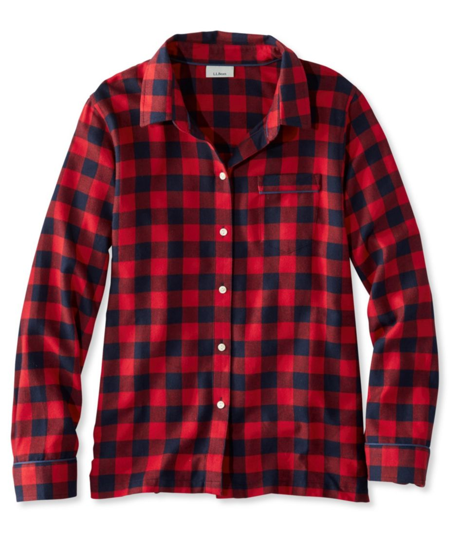 Llbean Flannel Pajama Top Plaid