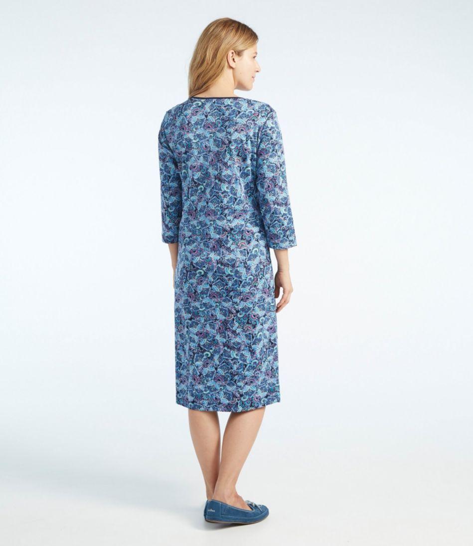 Supima Nightgown, V-Neck Three-Quarter-Sleeve Paisley