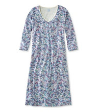 Supima Nightgown, V-Neck Three-Quarter-Sleeve Paisley
