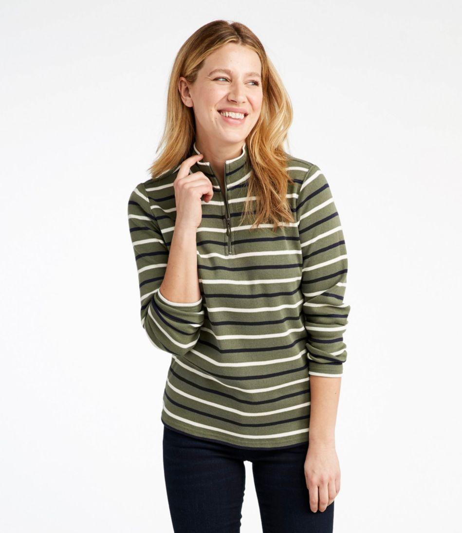 French Sailor's Pullover, Long-Sleeve Quarter-Zip Multistripe