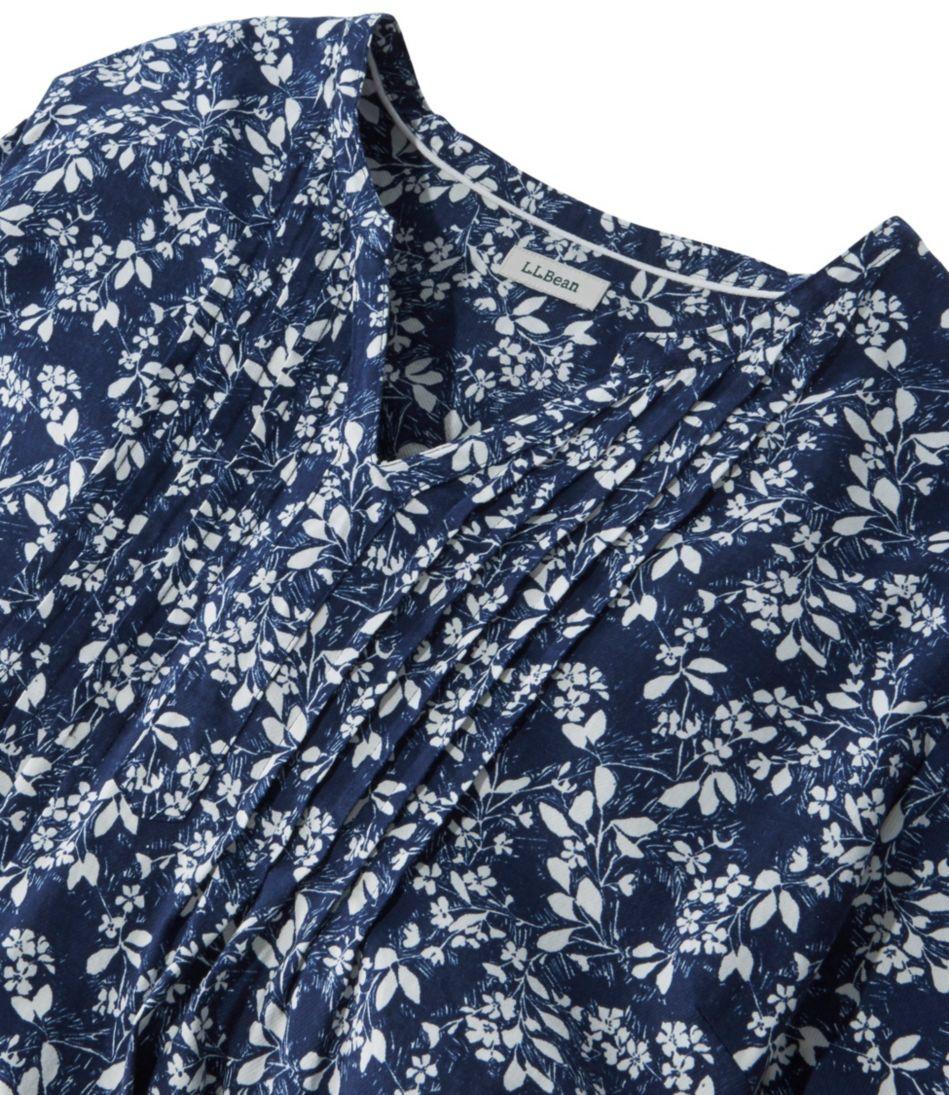 Pin-Tucked Cotton Blouse, Three-Quarter-Sleeve Print