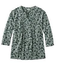 Pin-Tucked Cotton Blouse, Three-Quarter-Sleeve Print