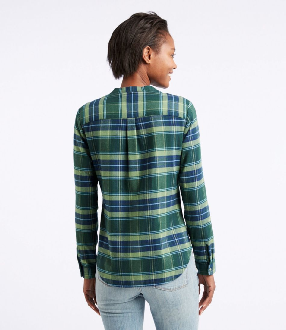 Splitneck Flannel Shirt, Plaid