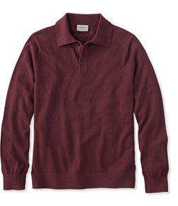 Men's Cotton/Cashmere Sweater, Polo Long-Sleeve