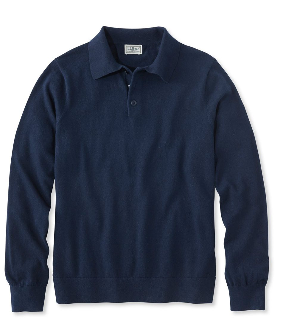 Cotton/Cashmere Sweater, Polo Long-Sleeve