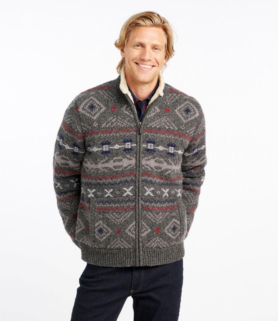 Men's L.L.Bean Classic Ragg Wool Sweater, Full-Zip Sherpa-Lined Fair Isle