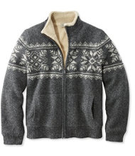 Men's L.L.Bean Classic Ragg Wool Sweater, Full-Zip Sherpa-Lined Fair Isle