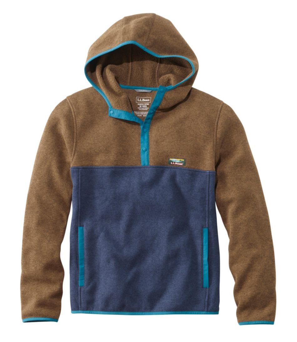 L.L.Bean Sweater Fleece Hooded Pullover, Colorblock