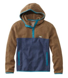Men's L.L.Bean Sweater Fleece Hooded Pullover, Colorblock