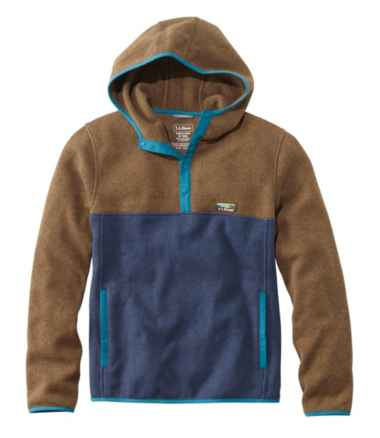 L.L.Bean Sweater Fleece Hooded Pullover, Colorblock