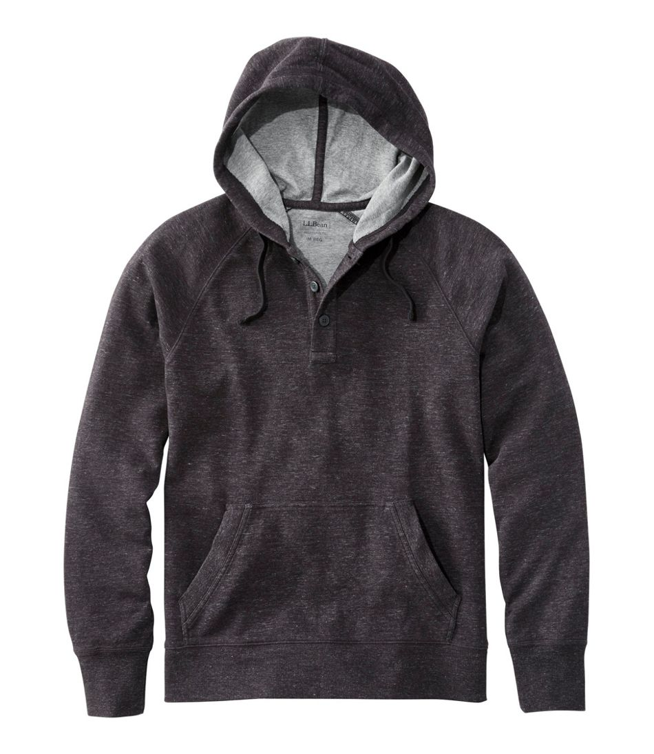 Washed Cotton Double-Knit Henley Hoodie, Slightly Fitted Long-Sleeve