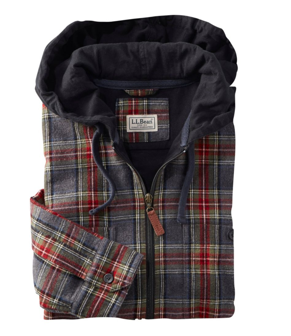 Scotch Plaid Flannel Shirt, Slightly Fitted Hooded Full-Zip