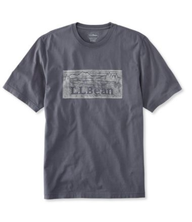 Lakewashed Garment-Dyed Cotton Crewneck Graphic Tee, Slightly Fitted Short-Sleeve Katahdin Logo