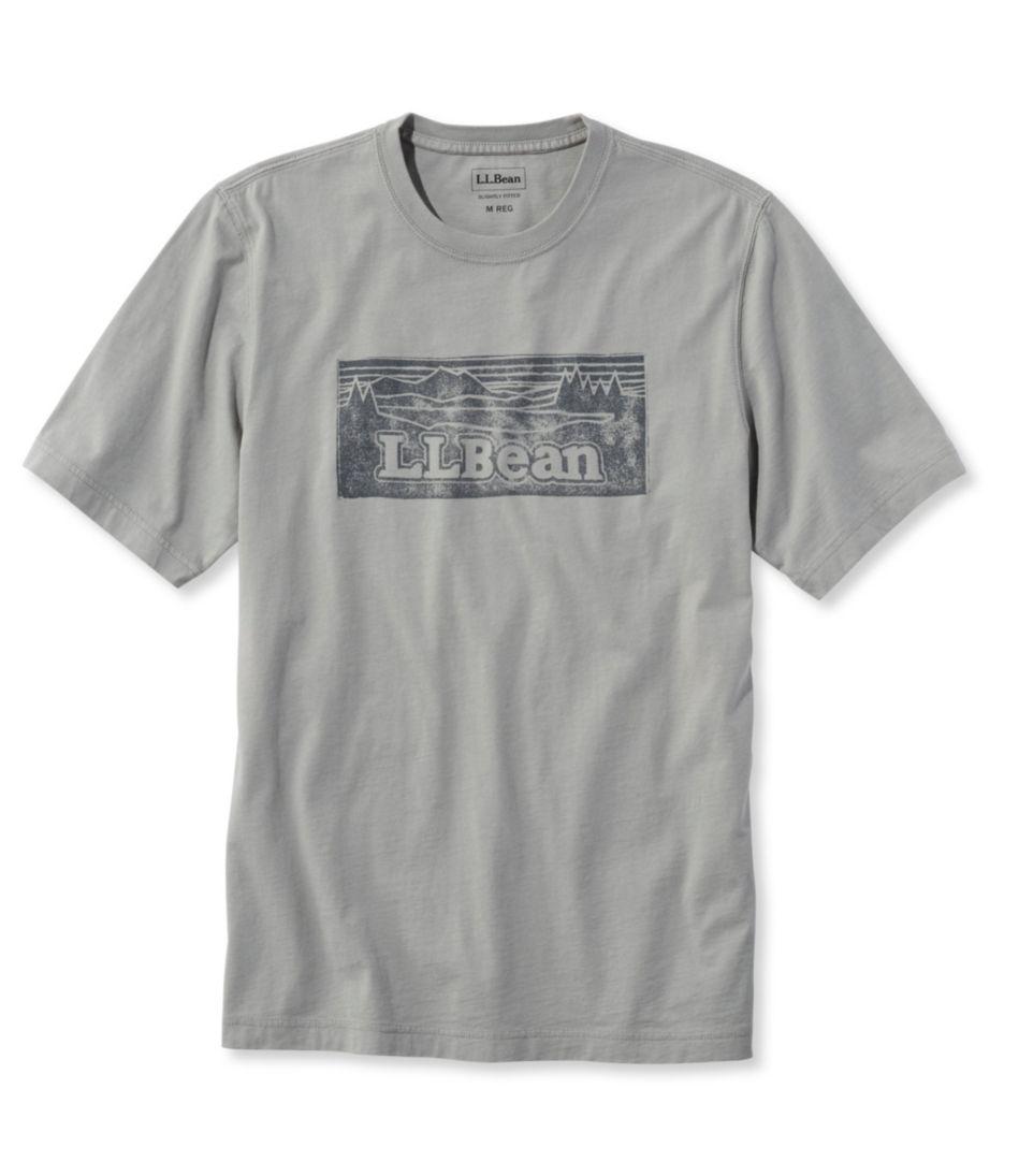 Lakewashed Garment-Dyed Cotton Crewneck Graphic Tee, Slightly Fitted Short-Sleeve Katahdin Logo