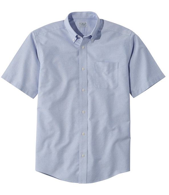 Men's Wrinkle-Free Classic Oxford Shirt, Short-Sleeve, French Blue, large image number 0
