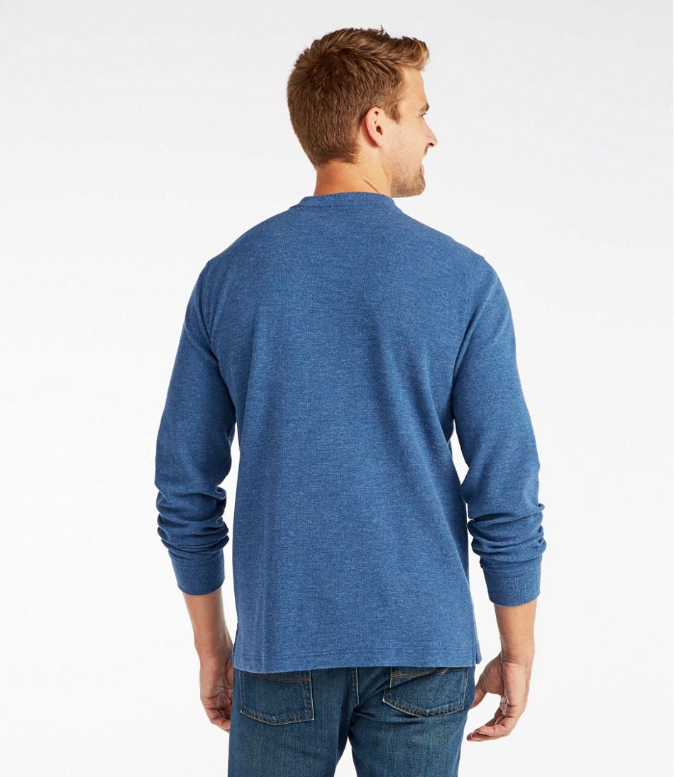 Men's Unshrinkable Mini-Waffle Henley, Long-Sleeve Slim Fit