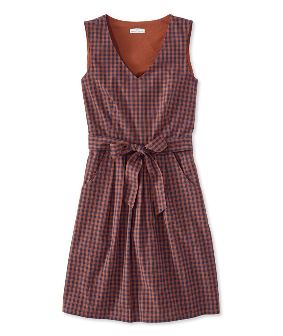 The Signature V-Neck Poplin Dress, Check