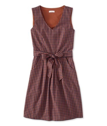 The Signature V-Neck Poplin Dress, Check