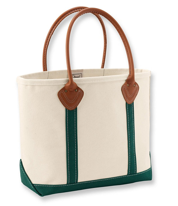 Leather Handled Boat and Tote Bag, Green, large image number 0