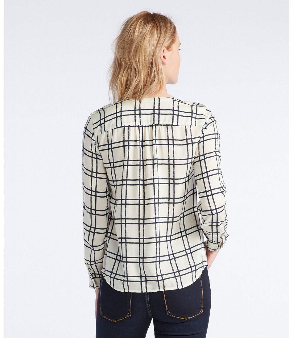 Signature Collarless Shirt, Long-Sleeve Print