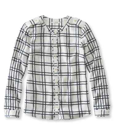 Signature Collarless Shirt, Long-Sleeve Print