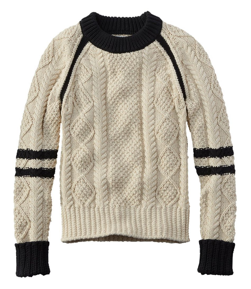 1940s Style Sweaters and Knit Tops Signature Cotton Fisherman Sweater Colorblock $109.00 AT vintagedancer.com