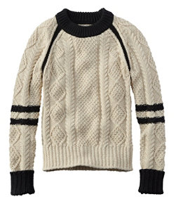 Women's Signature Cotton Fisherman Sweater, Colorblock