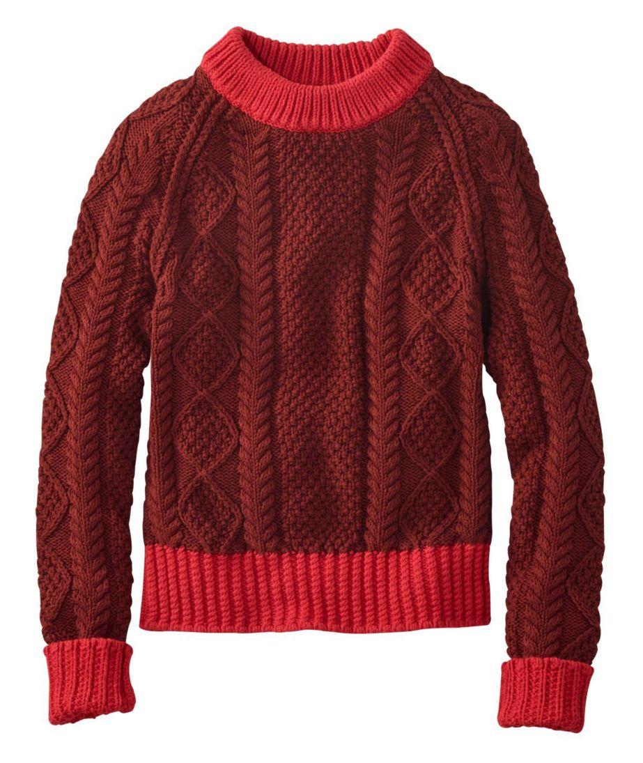 Signature Cotton Fisherman Sweater, Colorblock