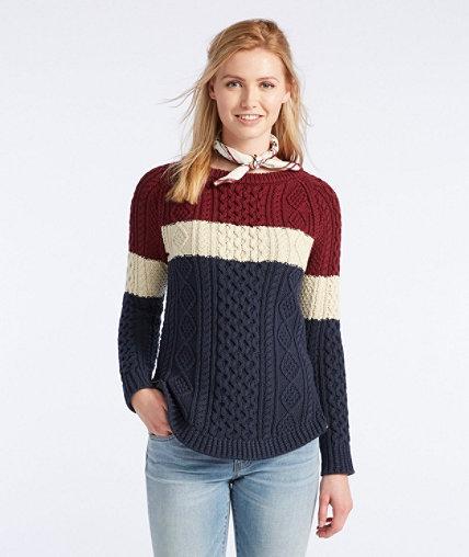 Women's Signature Cotton Fisherman Tunic Sweater, Colorblock ...