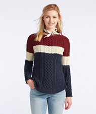 Signature Cotton Fisherman Tunic Sweater, Colorblock