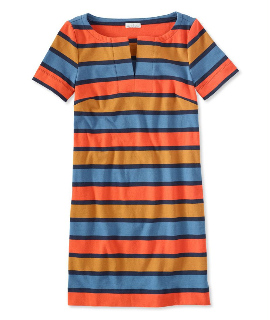 Signature Split-Neck Knit T-Shirt Dress, Stripe