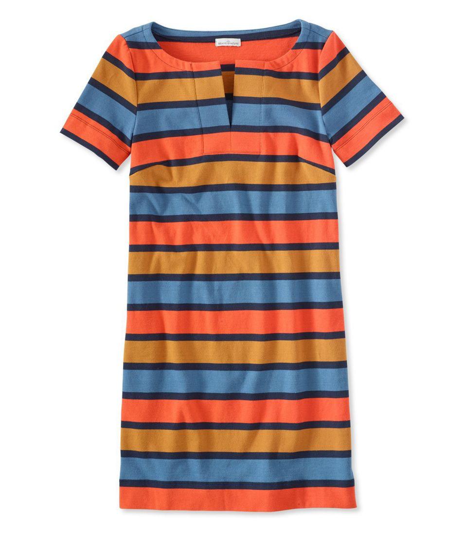 Signature Split Neck Knit T Shirt Dress Stripe