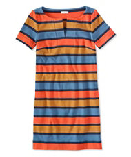 Women's Signature Split-Neck Knit T-Shirt Dress, Stripe