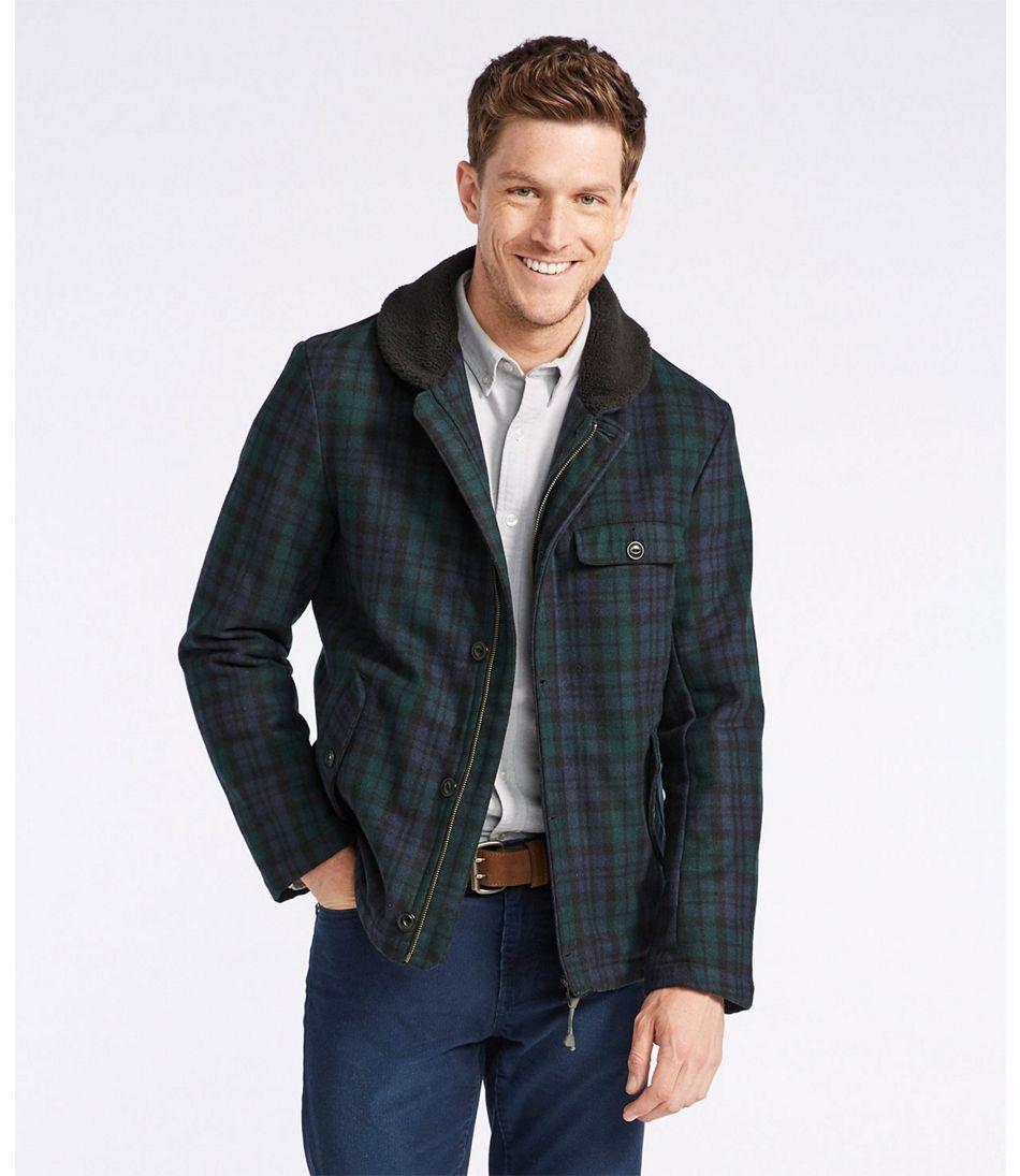 Signature Sherpa-Lined Wool-Blend Jacket, Slim Fit Plaid