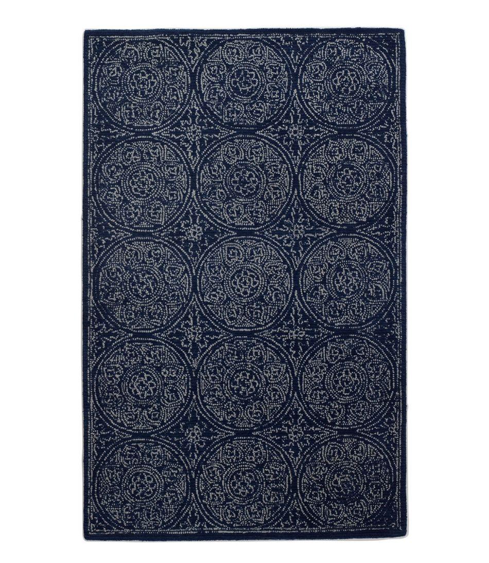 Floral Circle Wool Tufted Rug, Navy